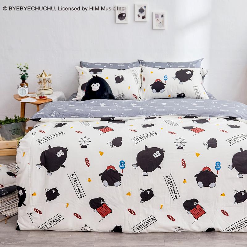 床包被套組/雙人【奧樂雞的遊樂園】100%精梳棉雙人床包被套組