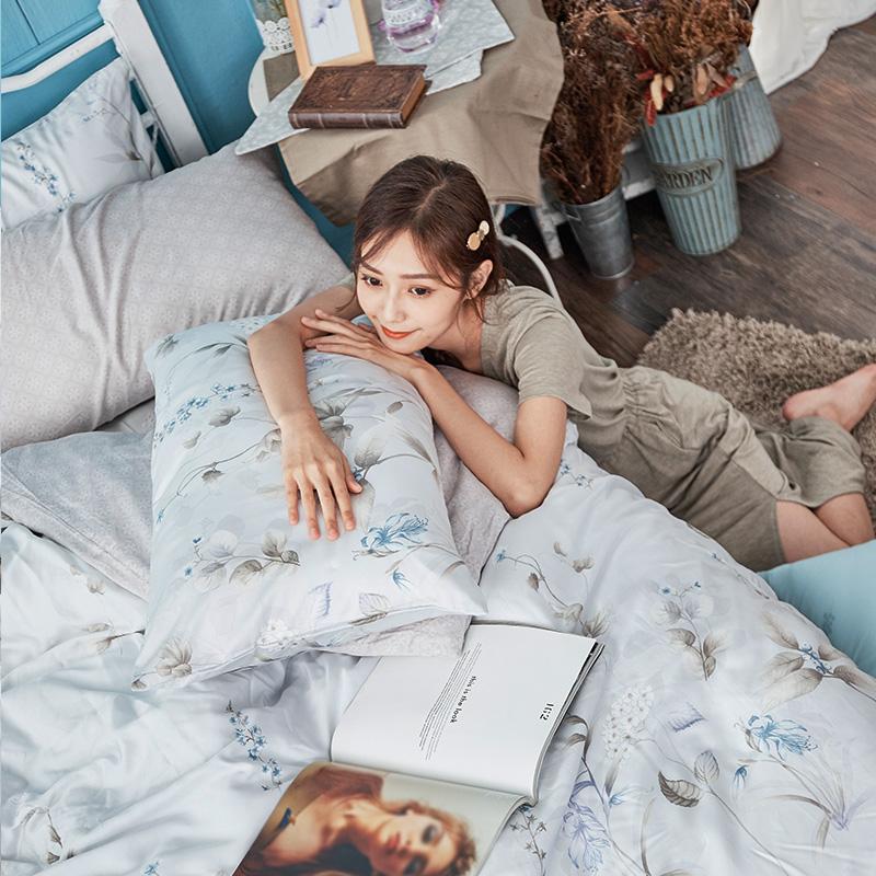 床包兩用被/雙人【微月遠蝶】60支天絲雙人床包兩用被套組