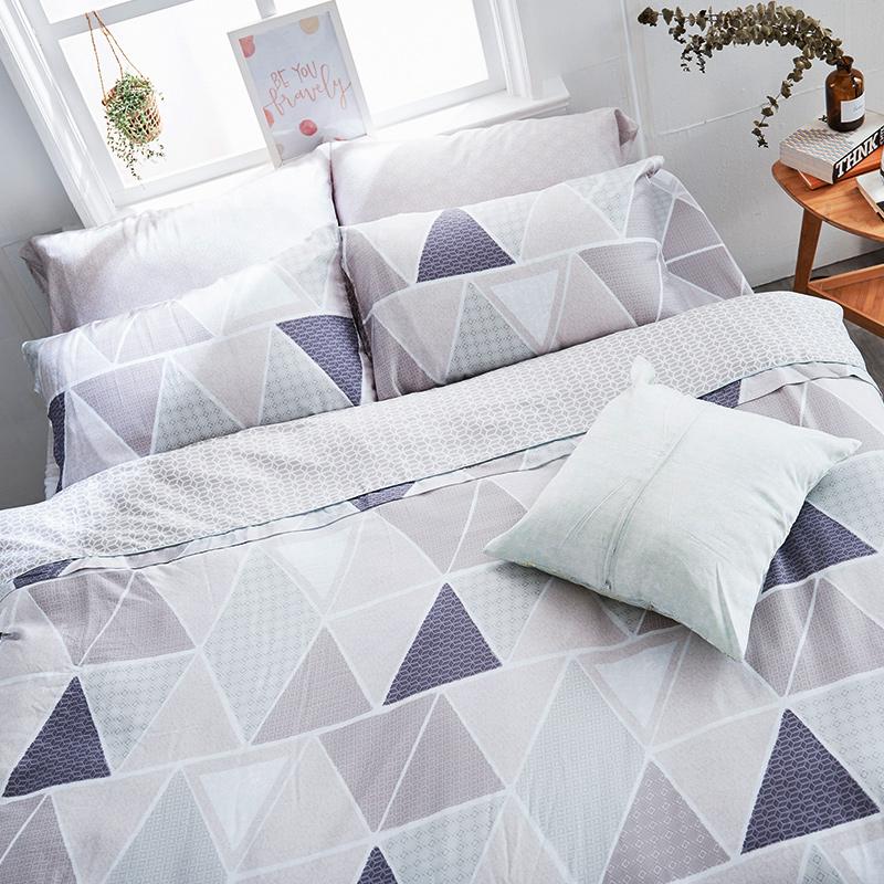 床包被套組/雙人【北歐菱線】60支天絲雙人床包被套組