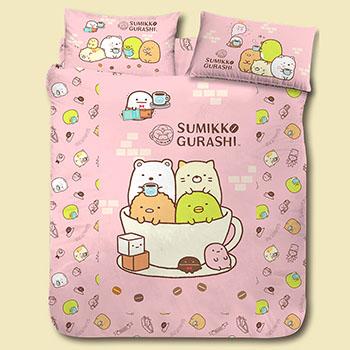 床包被套組/雙人【角落小夥伴/角落生物咖啡杯粉】雙人床包被套組