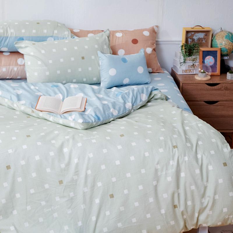 床包被套組/雙人【點點小宇宙水星藍】100%精梳棉雙人床包被套組