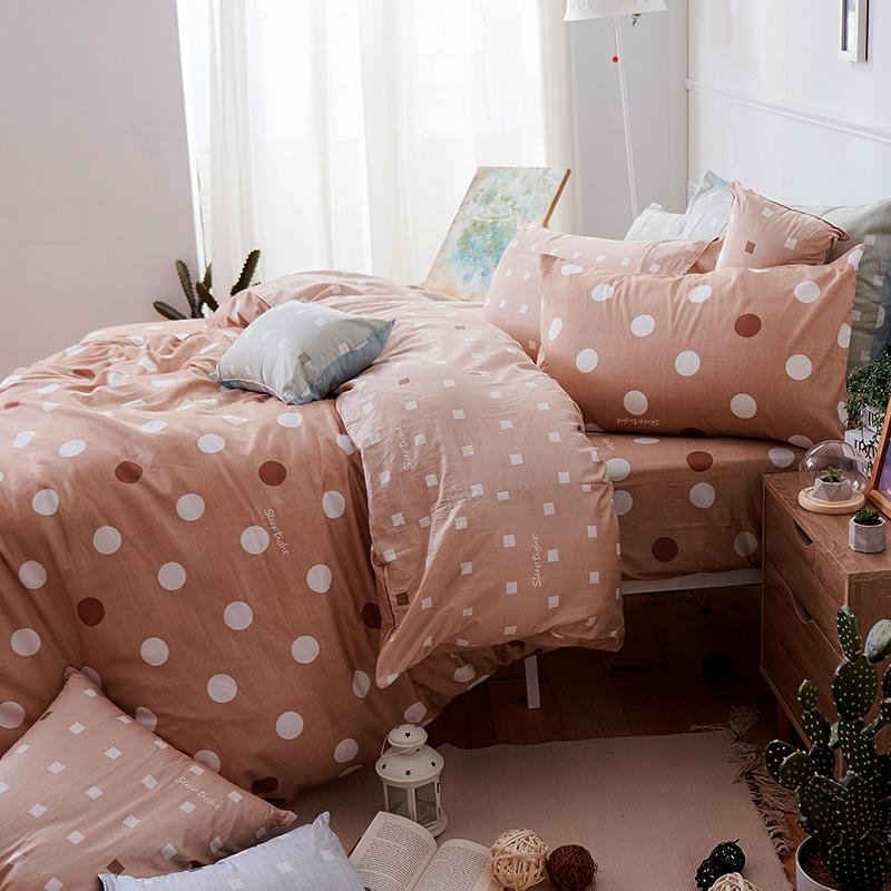 床包被套組/雙人【點點小宇宙火星土】100%精梳棉雙人床包被套組