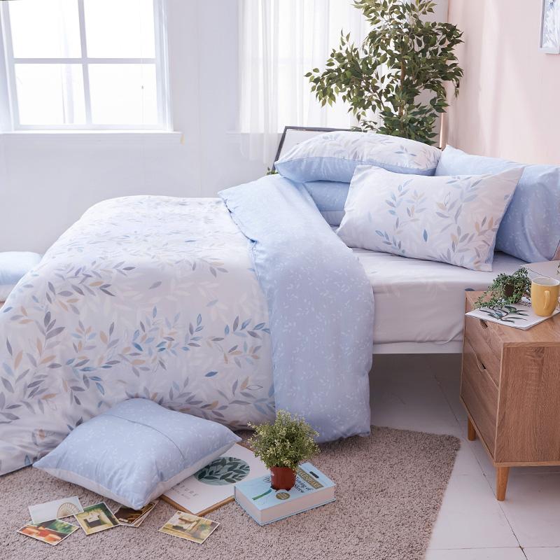 床包被套組/雙人【小樹之歌】40支天絲雙人床包被套組