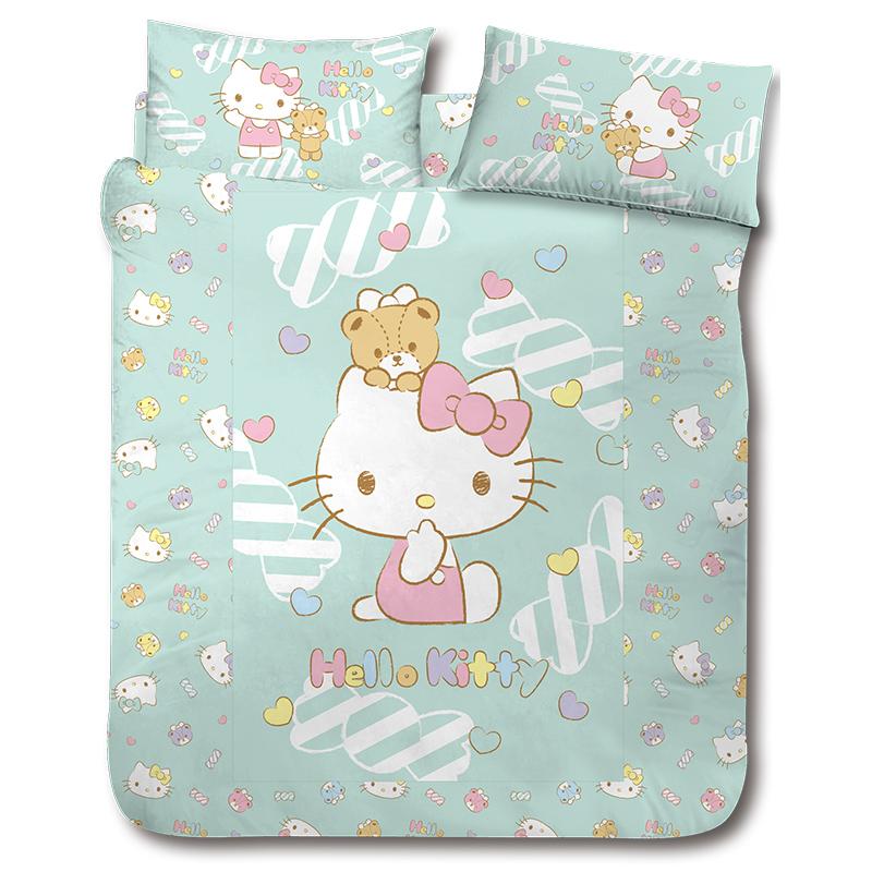 床包被套組/雙人【HELLOKITTY糖果熊】雙人床包被套組
