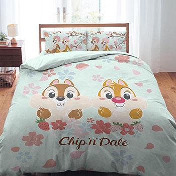床包被套組/雙人【奇奇蒂蒂-櫻花季系列】雙人床包被套組