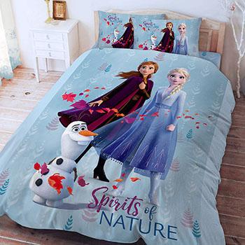 床包被套組/雙人【冰雪奇緣-秋日之森系列】雙人床包被套組