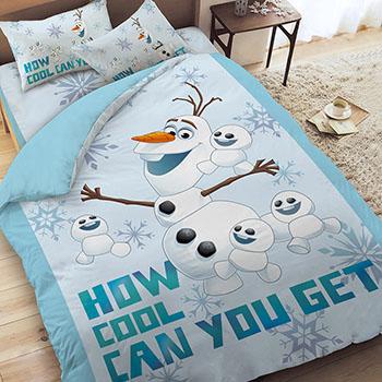 床包被套組/雙人【冰雪奇緣-雪寶與小雪人系列】雙人床包被套組