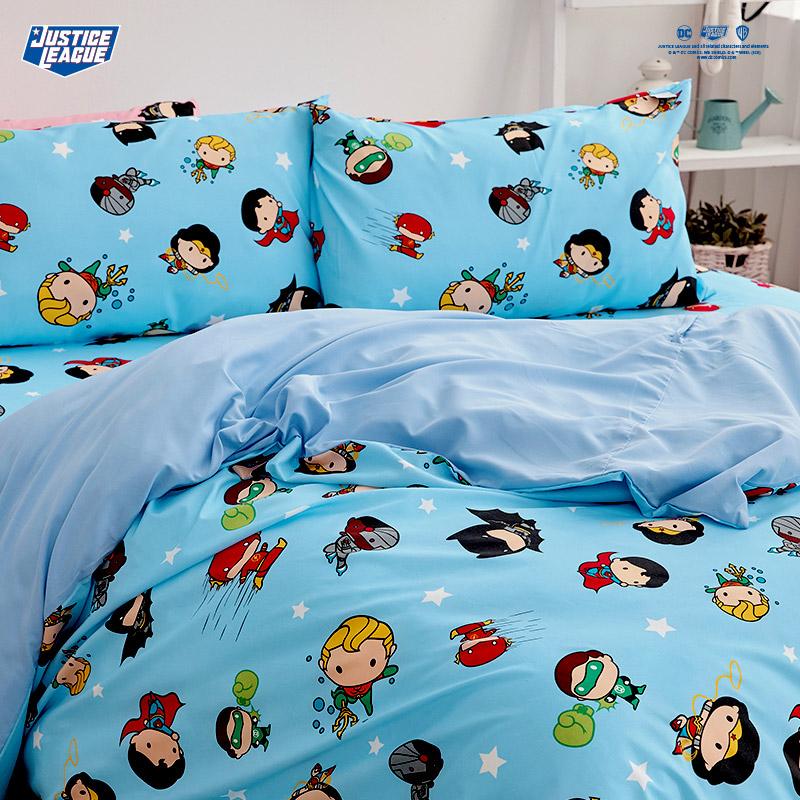 床包被套組/雙人【DC正義聯盟Q版超級英雄-藍】雙人床包被套組