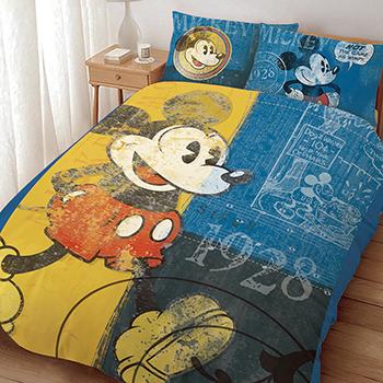 床包被套組/雙人【迪士尼米奇復古版】雙人床包被套組