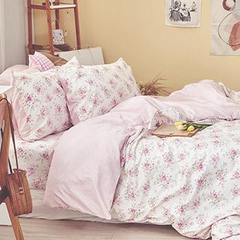 床包被套組/雙人【花花格格】100%精梳棉雙人床包被套組