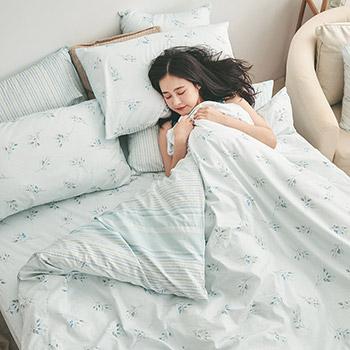床包被套組/雙人【日月青畔】100%精梳棉雙人床包被套組