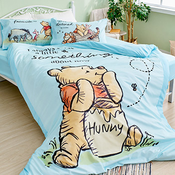 床包被套組/雙人【迪士尼維尼小熊-蜂蜜小事(藍色)】雙人床包被套組