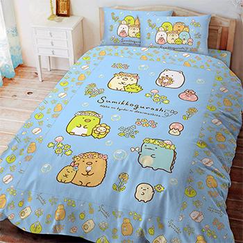 床包被套組/雙人【角落小夥伴-花園泡泡】雙人床包被套組