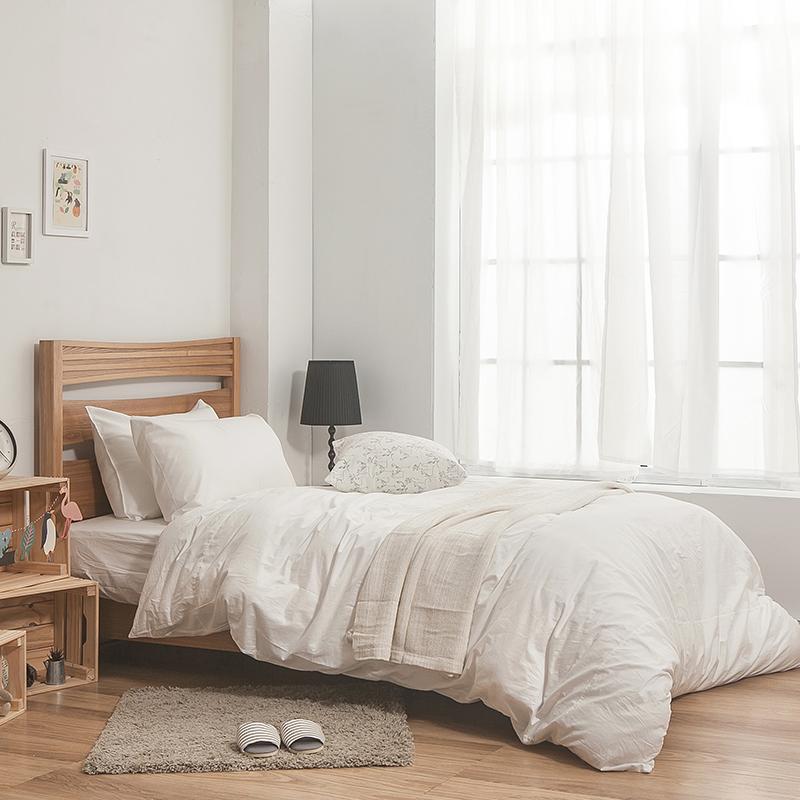 床包被套組/雙人加大【簡單生活系列-白】100%精梳棉雙人加大床包被套組