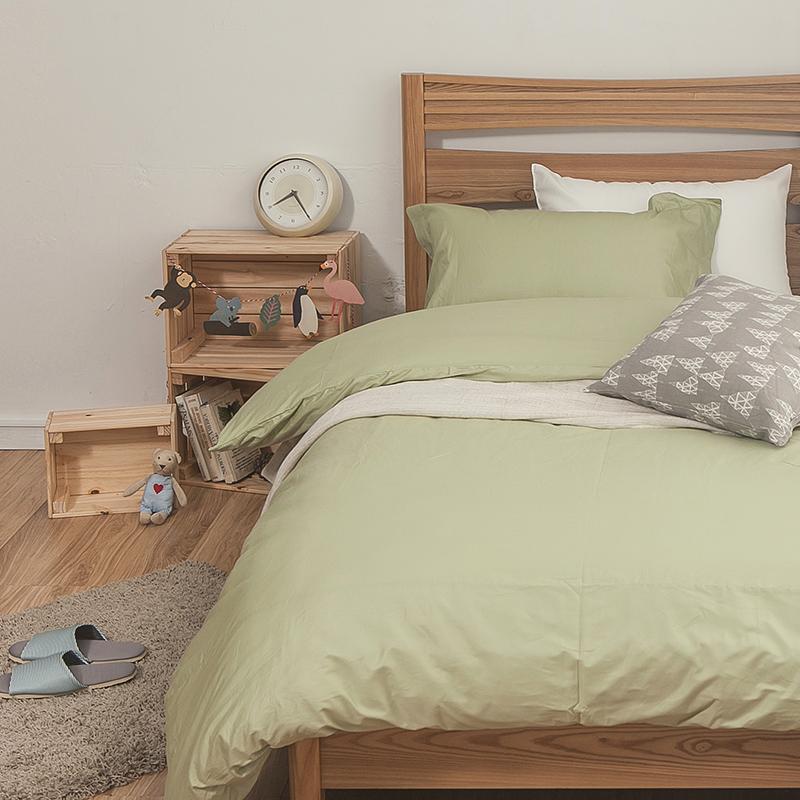 床包被套組/雙人加大【簡單生活系列-果綠】100%精梳棉雙人加大床包被套組