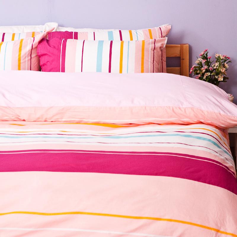 床包被套組/雙人加大【繽紛特調粉】100%純棉雙人加大床包被套組
