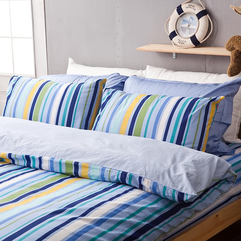 床包被套組/雙人加大【海洋特調】100%純棉雙人加大床包被套組
