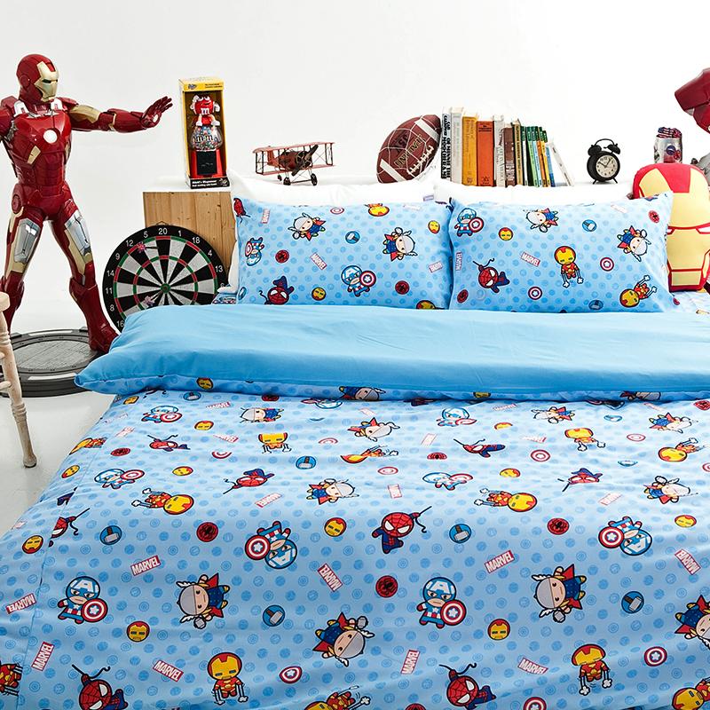 床包被套組/雙人加大【復仇者聯盟-超萌英雄】高密度磨毛布雙人加大床包被套組
