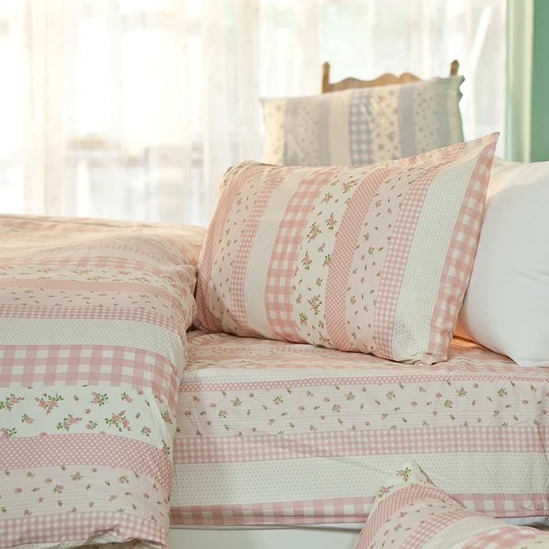 床包被套組/雙人加大【漫步花園粉】雪紡絲磨毛雙人加大床包被套組