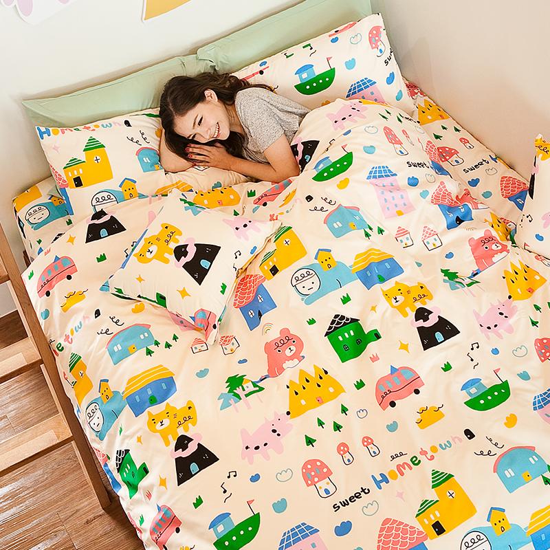 床包被套組/雙人加大【Sweethome甜蜜的家】雪紡絲磨毛雙人加大床包被套組喂,wei聯名款