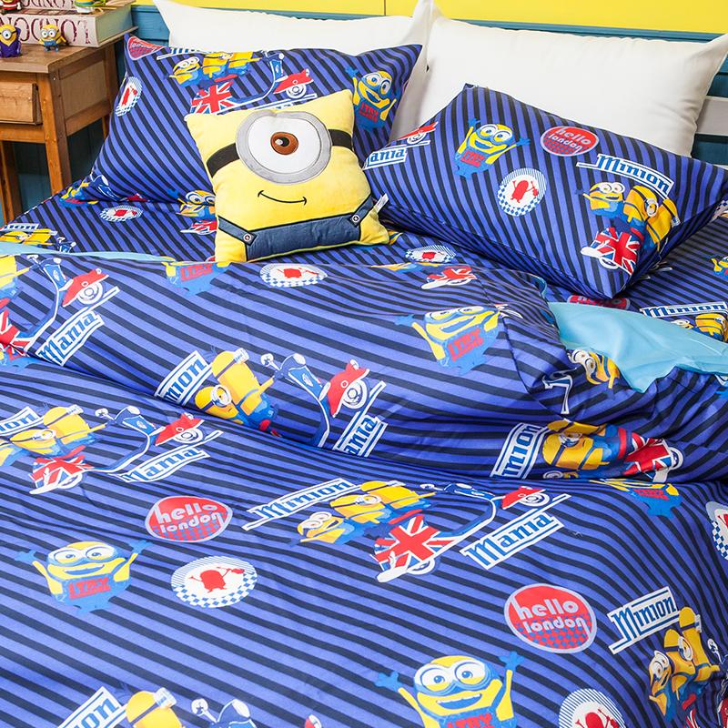 床包被套組/雙人加大【小小兵前進英倫】高密度磨毛布雙人加大床包被套組
