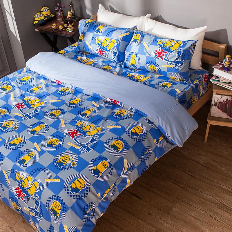 床包被套組/雙人加大【小小兵壞蛋來了】高密度磨毛布雙人加大床包被套組