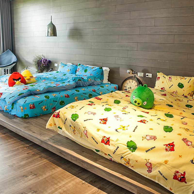 床包被套組/雙人加大【憤怒鳥黃】高密度磨毛布雙人加大床包被套組