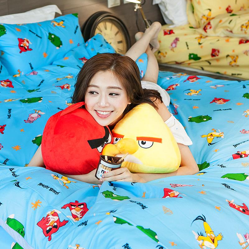 床包被套組/雙人加大【憤怒鳥藍】高密度磨毛布雙人加大床包被套組