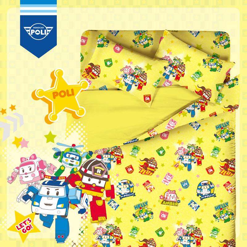 床包被套組/雙人加大【波力救援小英雄黃】高密度磨毛布雙人加大床包被套組