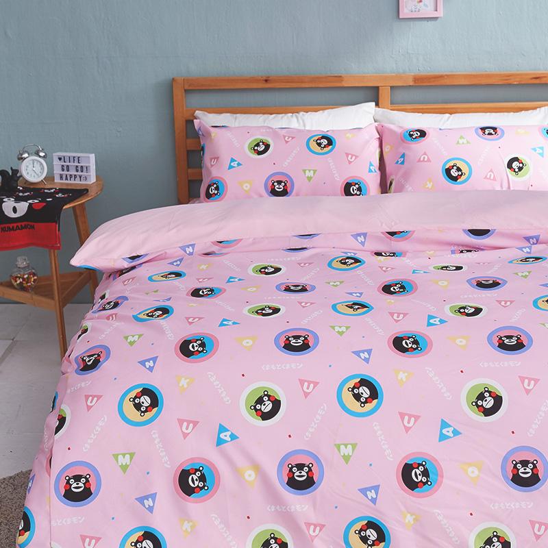床包被套組/雙人加大【熊本熊樂園粉】高密度磨毛布雙人加大床包被套組