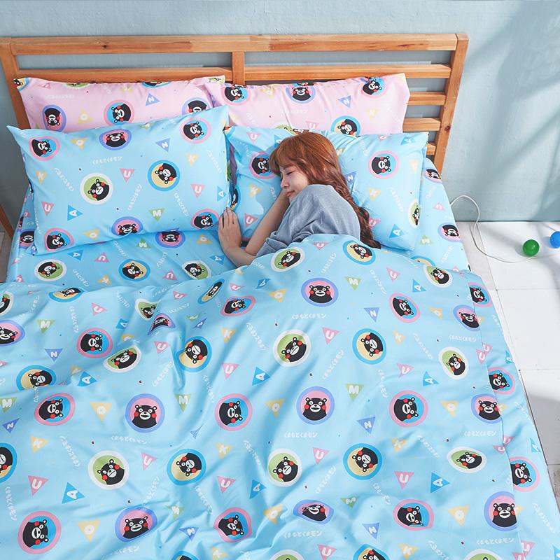 床包被套組/雙人加大【熊本熊樂園藍】高密度磨毛布雙人加大床包被套組