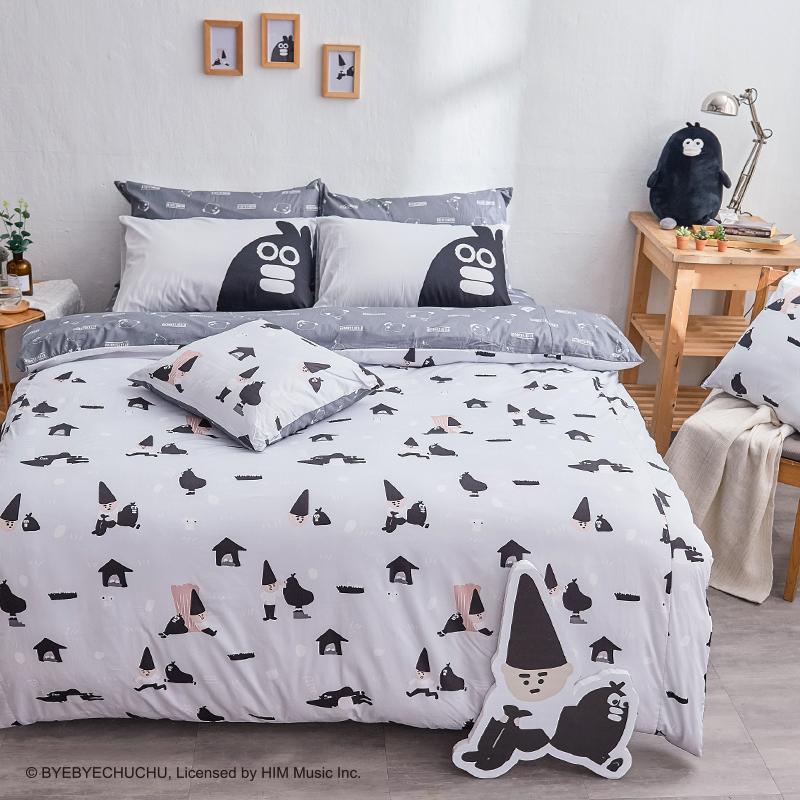 床包被套組/雙人加大【掰啾普拉斯】100%精梳棉雙人加大床包被套組