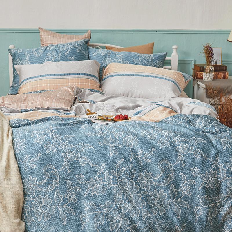 床包被套組/雙人加大【可莉安】40支天絲雙人加大床包被套組