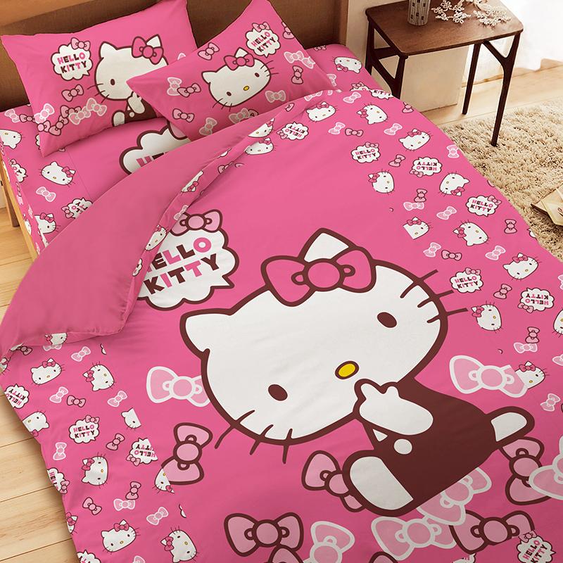 床包被套組/雙人加大【KT經典甜美】雙人加大床包被套組