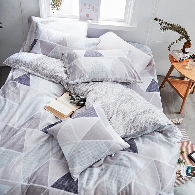 床包被套組/雙人加大【北歐菱線】60支天絲雙人加大床包被套組