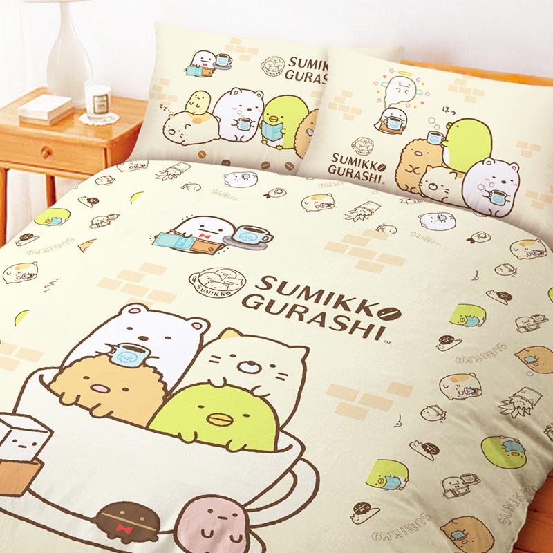 床包被套組/雙人加大【角落小夥伴咖啡杯黃】雙人加大床包被套組