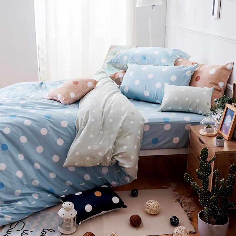 床包被套組/雙人加大【點點小宇宙水星藍】100%精梳棉雙人加大床包被套組