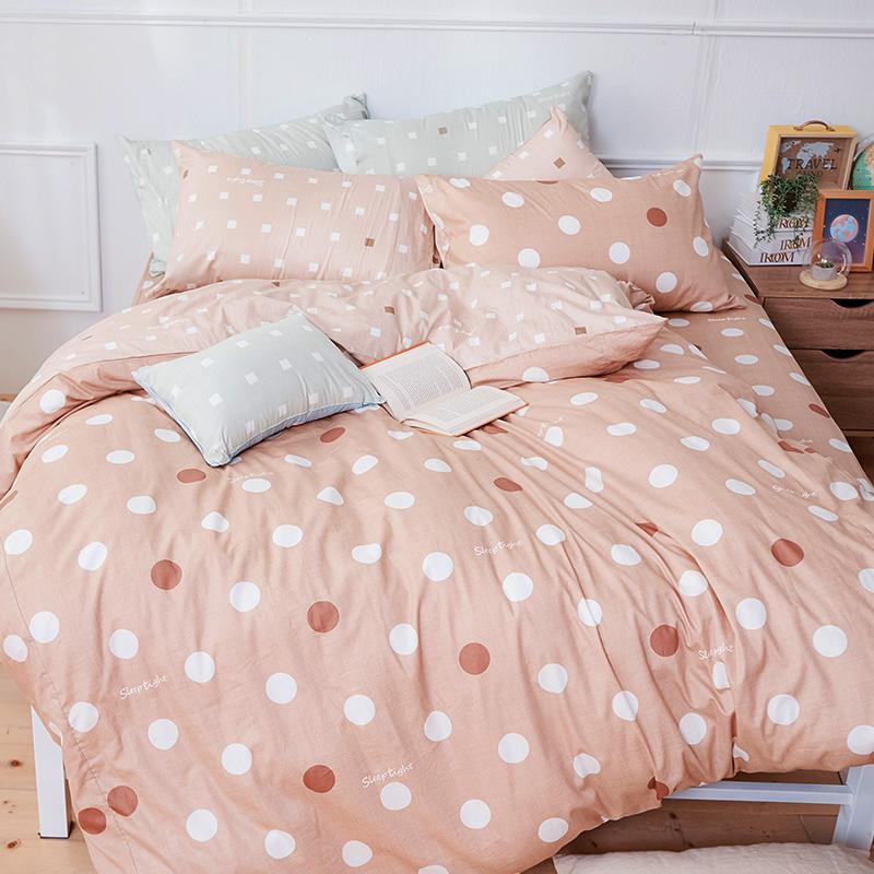 床包被套組/雙人加大【點點小宇宙火星土】100%精梳棉雙人加大床包被套組