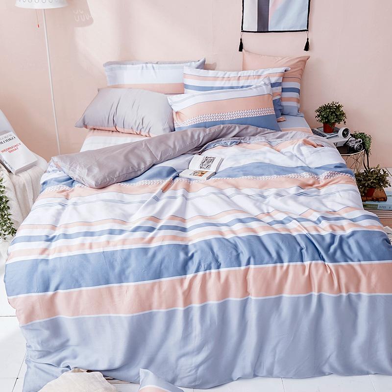 床包被套組/雙人加大【莫藍序曲】60支天絲雙人加大床包被套組