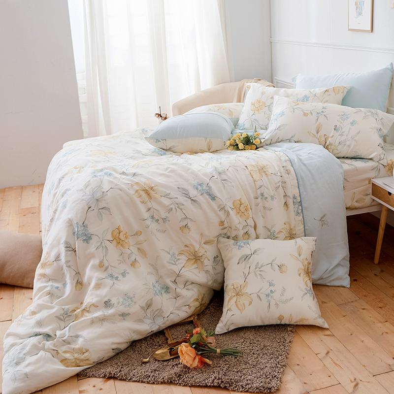 床包被套組/雙人加大【恬淡花晴】40支天絲雙人加大床包被套組