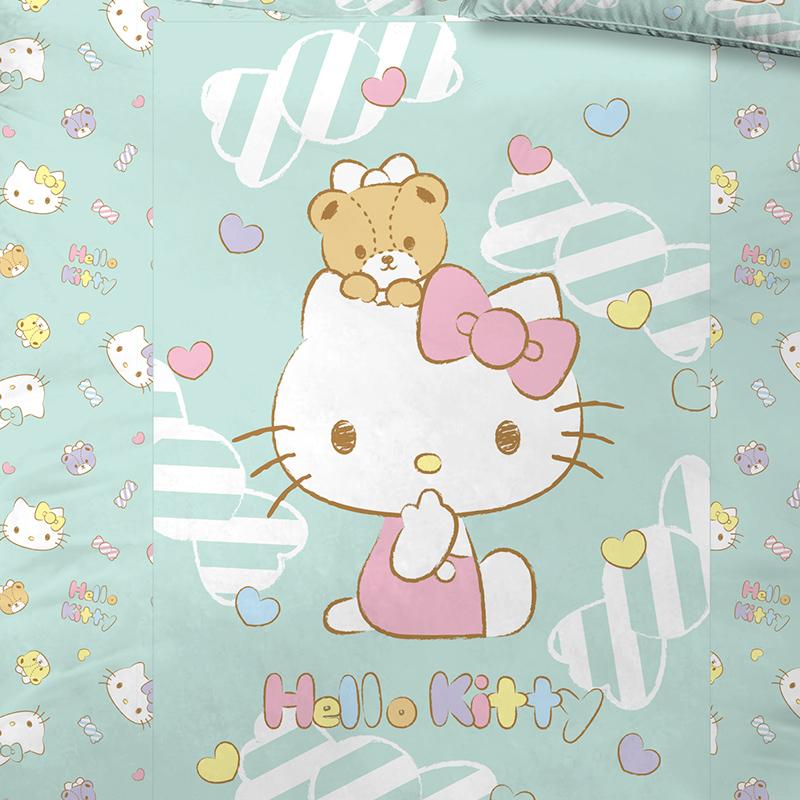 床包被套組/雙人加大【HELLOKITTY糖果熊】雙人加大床包被套組
