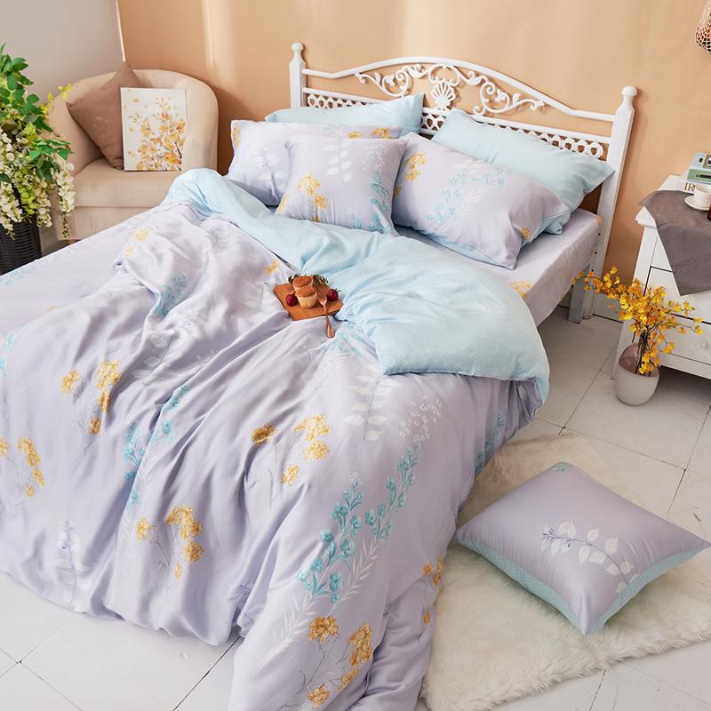 床包被套組/雙人加大【珊朵拉】40支天絲雙人加大床包被套組