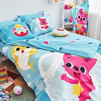 床包被套組/雙人加大【鯊魚寶寶海底漫遊】雙人加大床包被套組