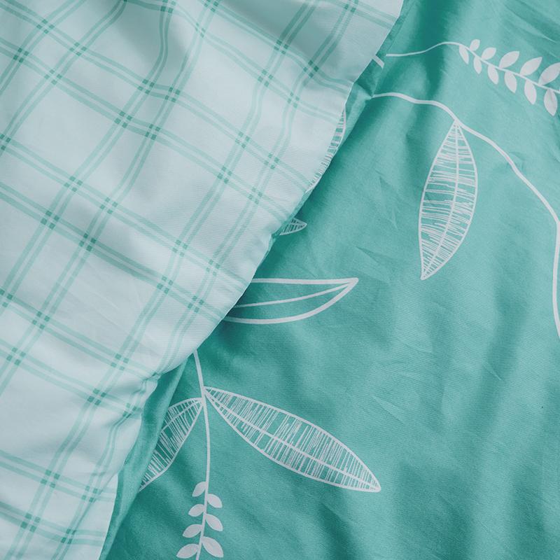 床包被套組/雙人加大【小葉曲】100%精梳棉雙人加大床包被套組
