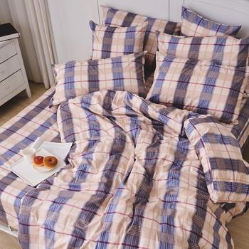 床包被套組/雙人加大【伯利格紋】100%精梳棉雙人加大床包被套組