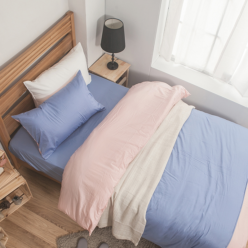 床包被套組/雙人特大【簡單生活系列-藍粉】100%精梳棉雙人特大床包被套組