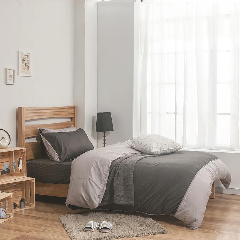 床包被套組/雙人特大【簡單生活系列-雙灰】100%精梳棉雙人特大床包被套組