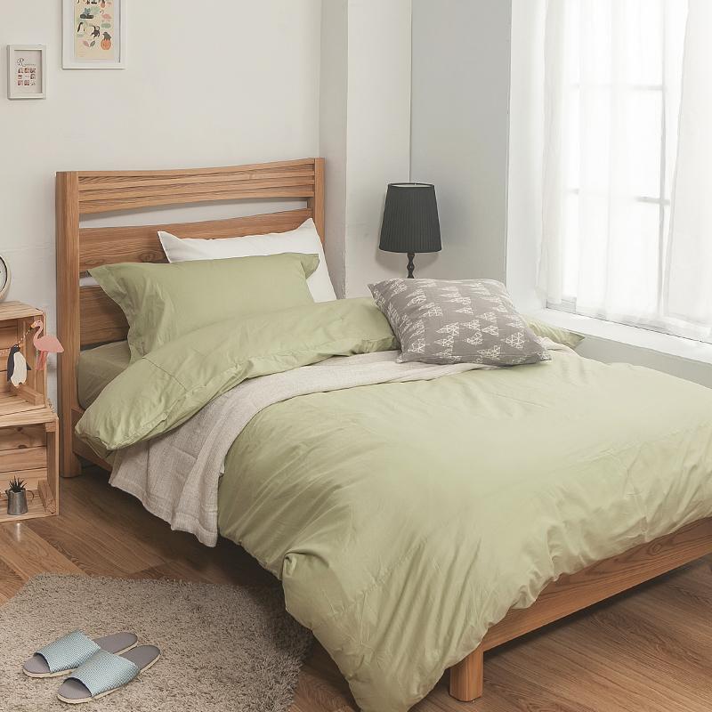 床包被套組/雙人特大【簡單生活系列-果綠】100%精梳棉雙人特大床包被套組