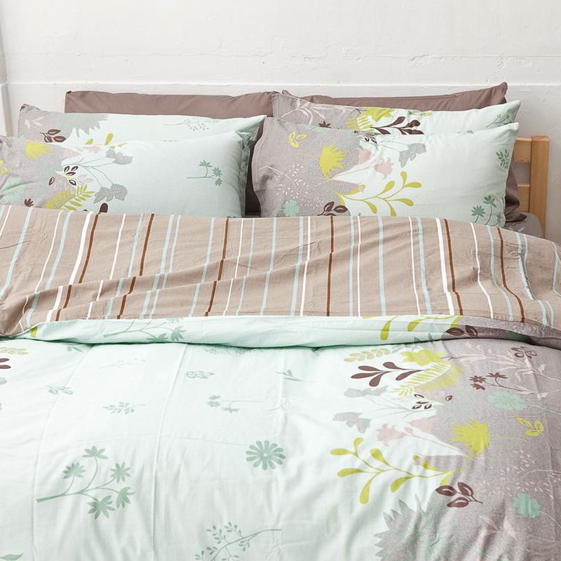 床包被套組/雙人特大【香草綠】100%純棉雙人特大床包被套組