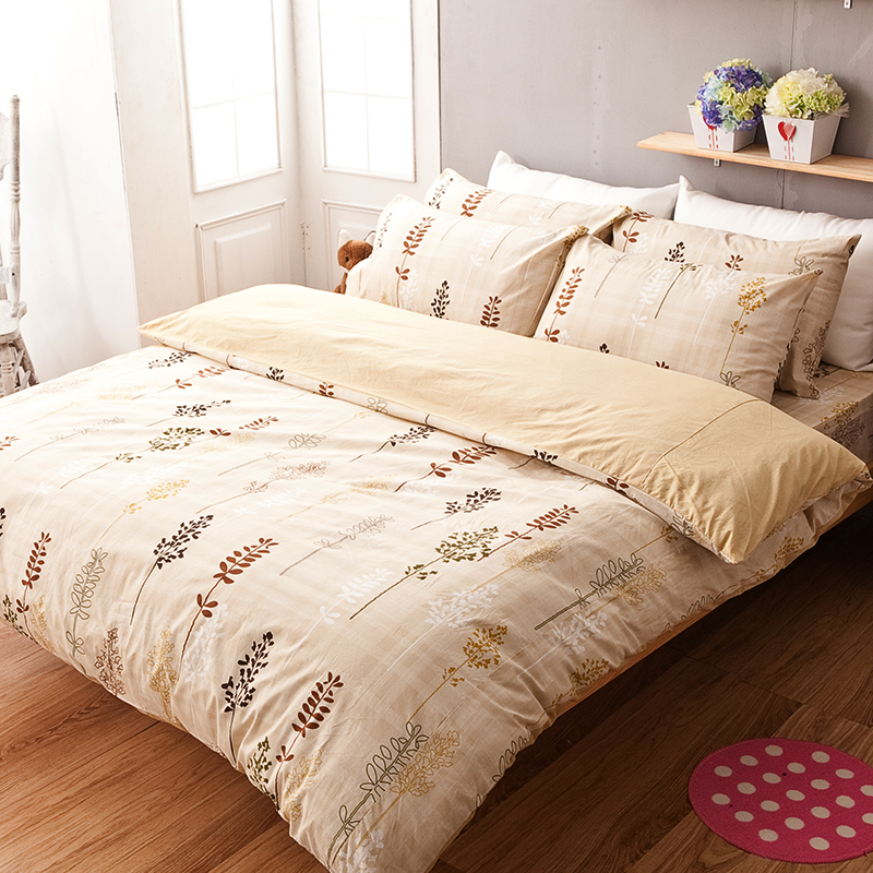 床包被套組/雙人特大【夏日之森】100%純棉雙人特大床包被套組